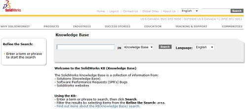 SolidWorks Knowledge Base search engine for issues or queries.
