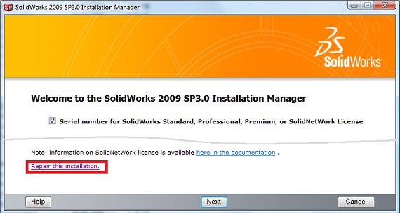 Repair SolidWorks Installation - 2009