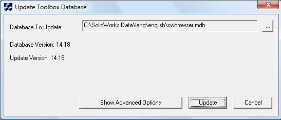 SolidWorks Update Toolbox Database utility to use when upgrading to the latest version of SolidWorks.