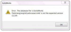 Typical Error message when going to use the Hole Wizard / Toolbox.
