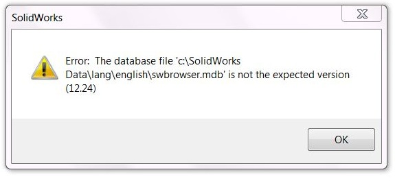 SolidWorks Error: Hole Wizard / Toolbox Not Expected Version
