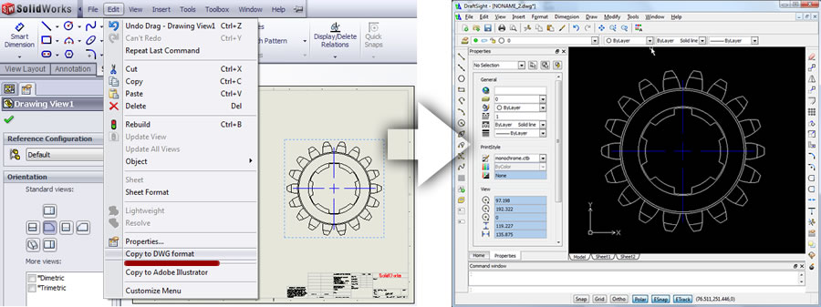 Copy and paste a solidworks drawing directly into for Copy cad